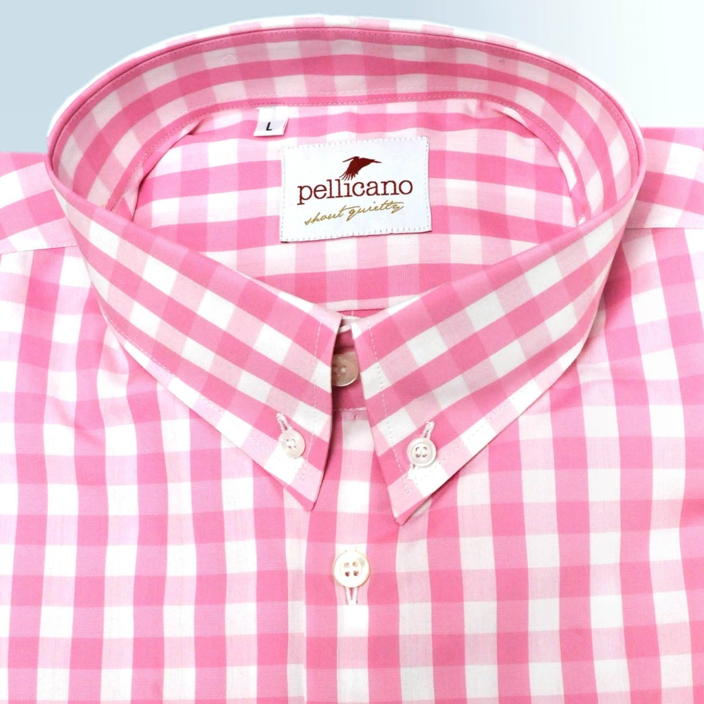 Detroit - Classic Button Down Shirt in Pink and White Gingham
