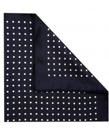 Jack - Polka Dot Silk Pocket Square in Navy with White Spots