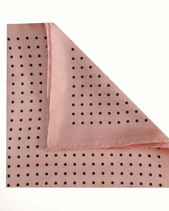 Jack - Polka Dot Silk Pocket Square in Pink with Black Spots