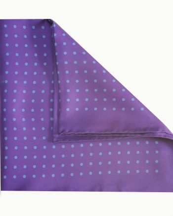 Jack - Polka Dot Silk Pocket Square in Purple with Blue Spots