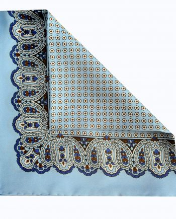 Jay - Paisley Silk Pocket Square in Light Blue