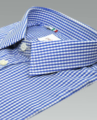 Enrico – Small Collar Formal Shirt in Blue and White Gingham_2