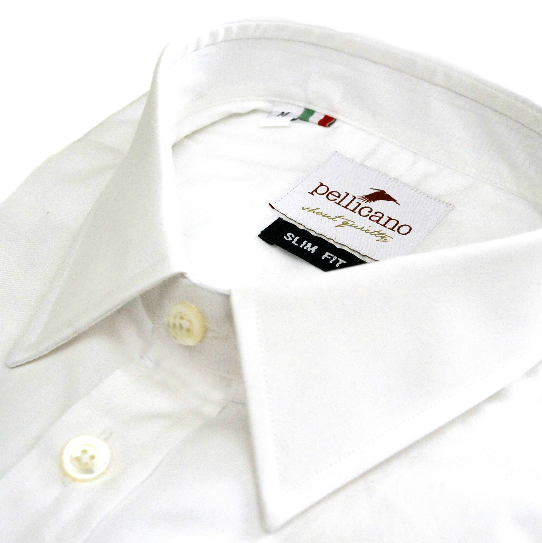Enrico small collar formal shirt in a crisp white poplin for Crisp white cotton shirt