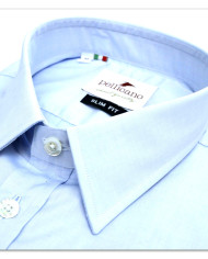 Enrico – Small Collar Formal Shirt in a Sky Blue Poplin