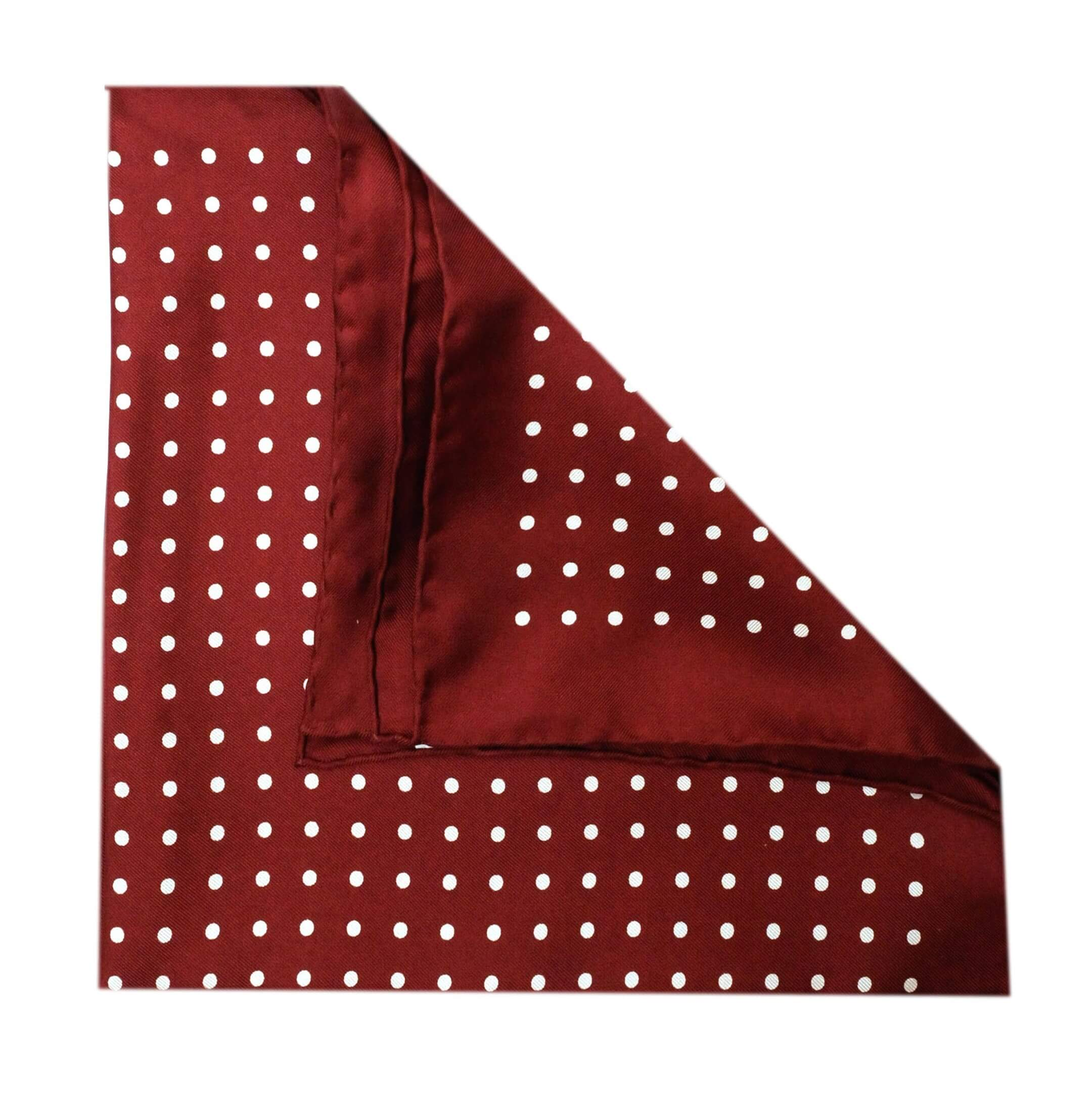 Jack - Polka Dot Silk Pocket Square in Burgundy with White Spots