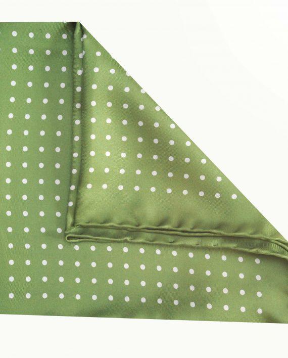 Jack - Polka Dot Silk Pocket Square in Green with Blue Spots