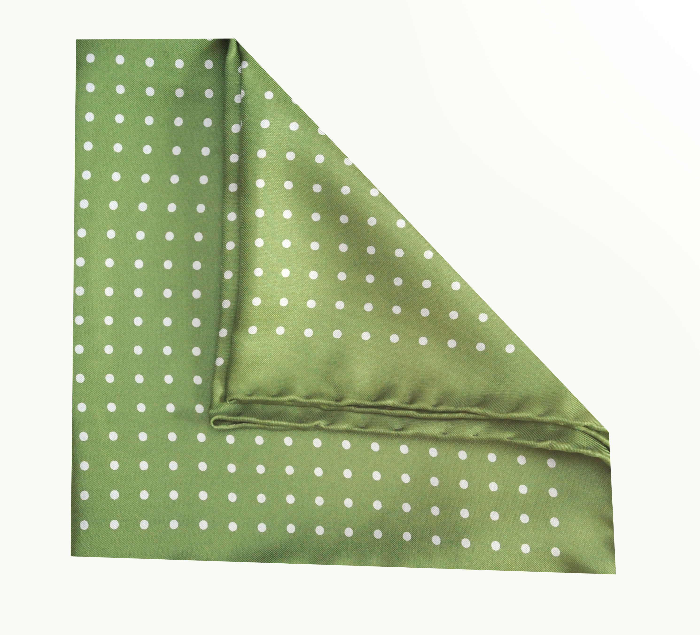 Jack - Polka Dot Silk Pocket Square in Green with Blue Spots