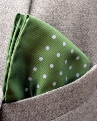 Jack – Polka Dot Silk Pocket Square in Green with Blue Spots