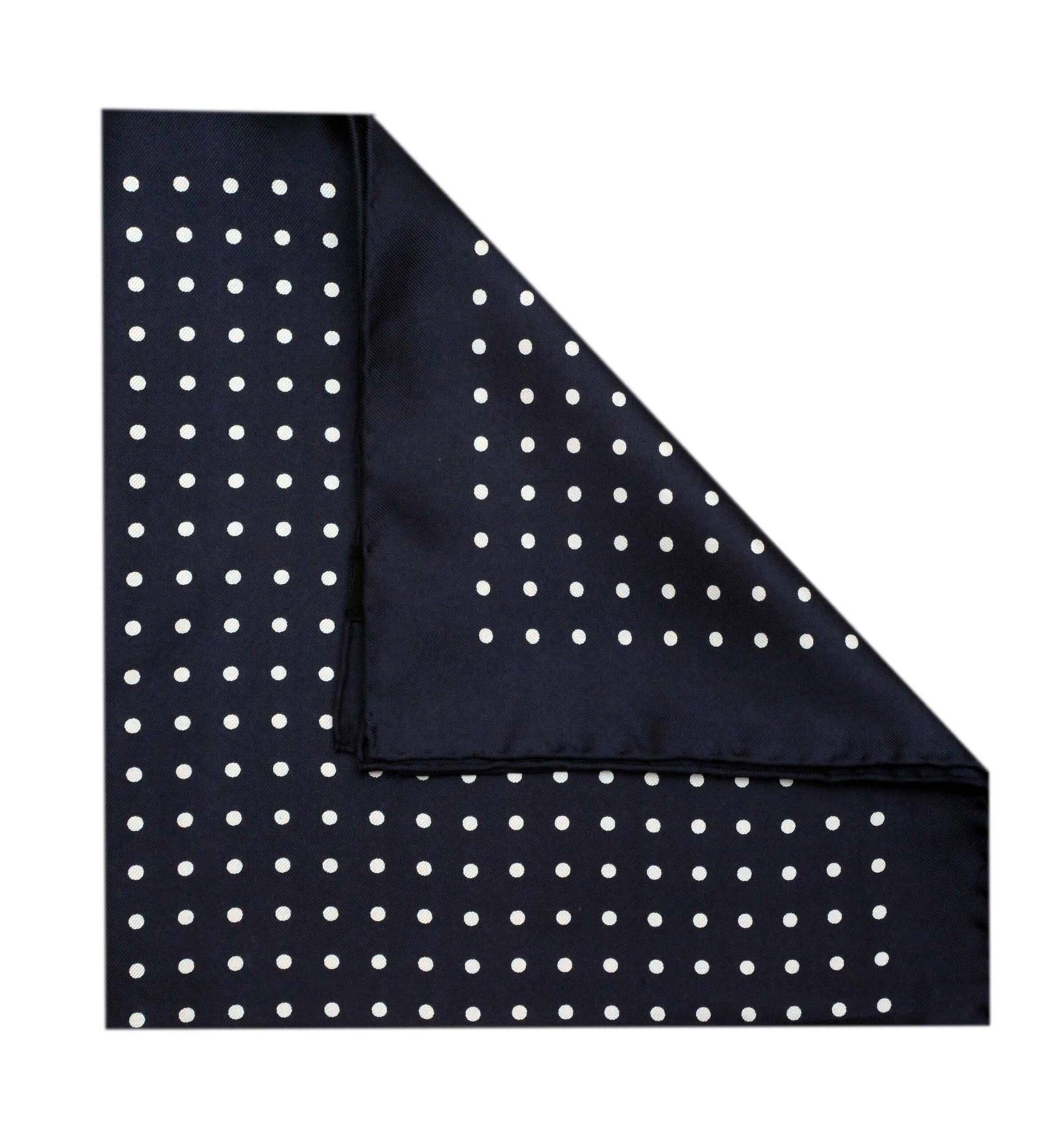 Jack - Polka Dot Silk Pocket Square in Navy with White Spots