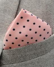 Jack – Polka Dot Silk Pocket Square in Pink with Black Spots