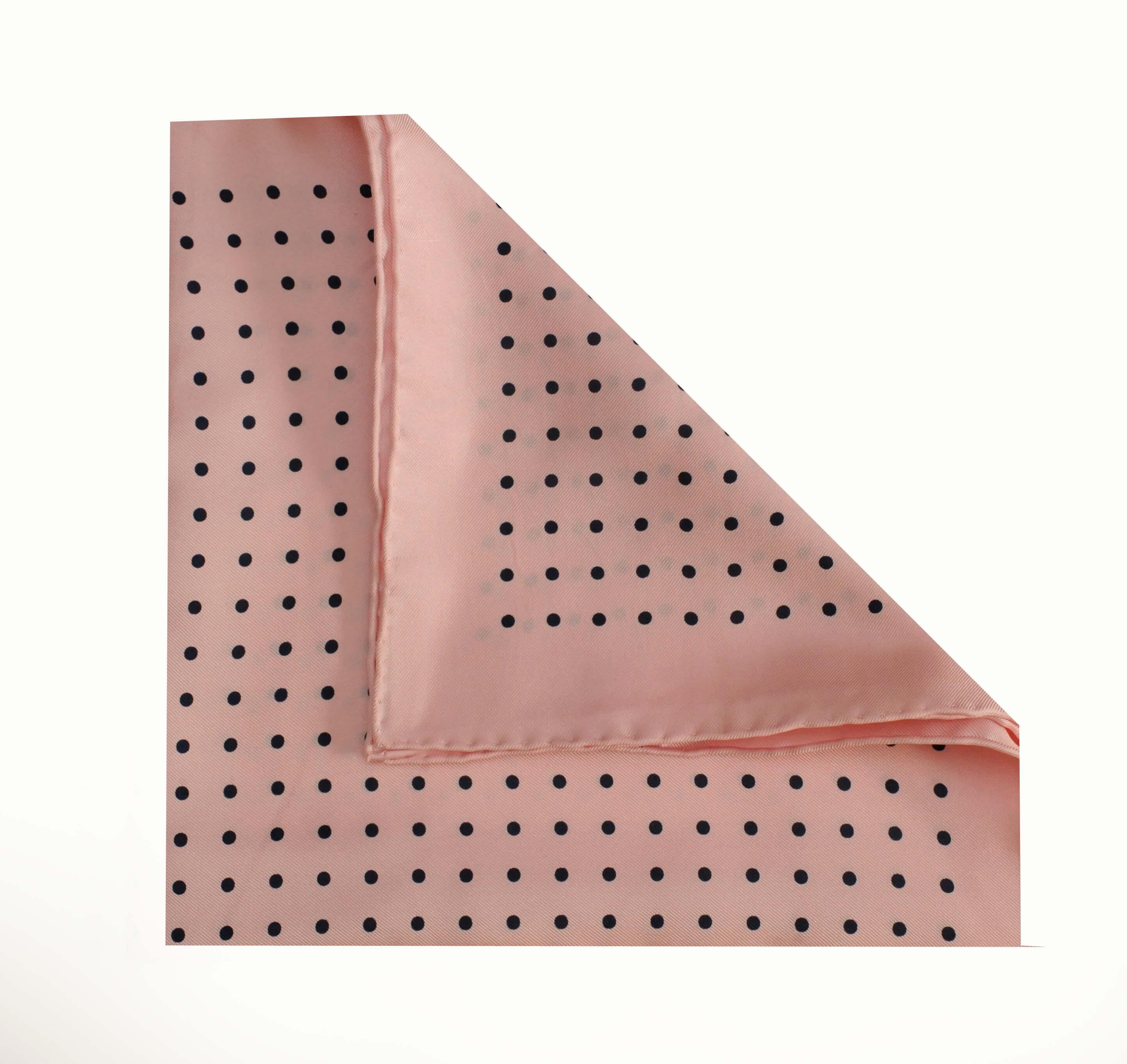 Jack - Polka Dot Silk Pocket Square in Pink with Black Spots