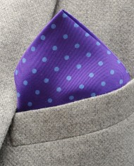 Jack – Polka Dot Silk Pocket Square in Purple with Blue Spots