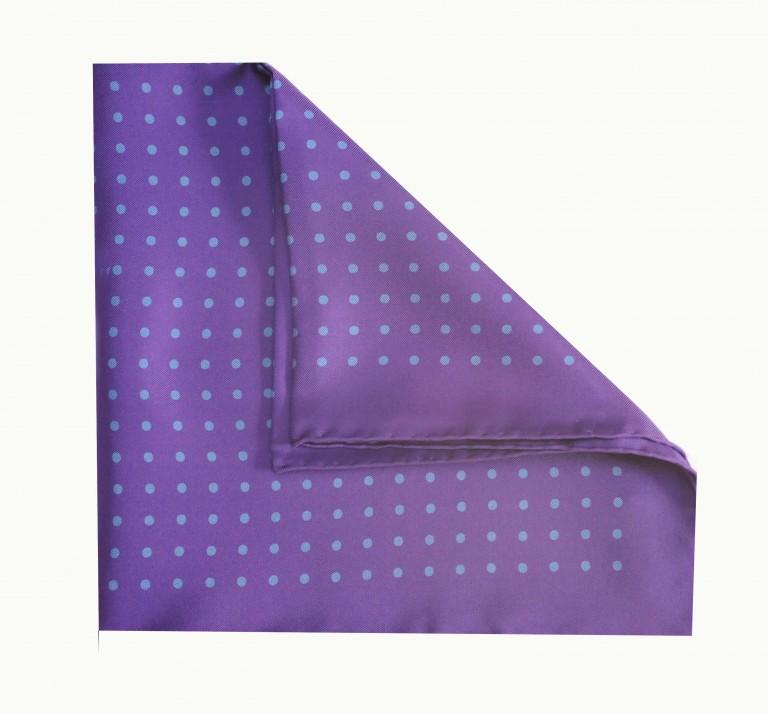 Jack - Polka Dot Silk Pocket Square in Purple with Blue Spots