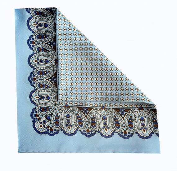Jay - Paisley Silk Pocket Square in Light Blue