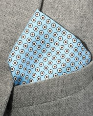 Jay – Paisley Silk Pocket Square in Light Blue