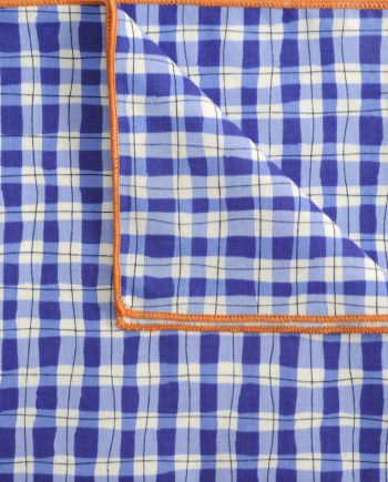 Mac - Check Print Cotton Handkerchief in Blue and White with Orange