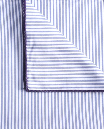 Mac - Striped Print Cotton Men's Handkerchief in Sky and White with Purple