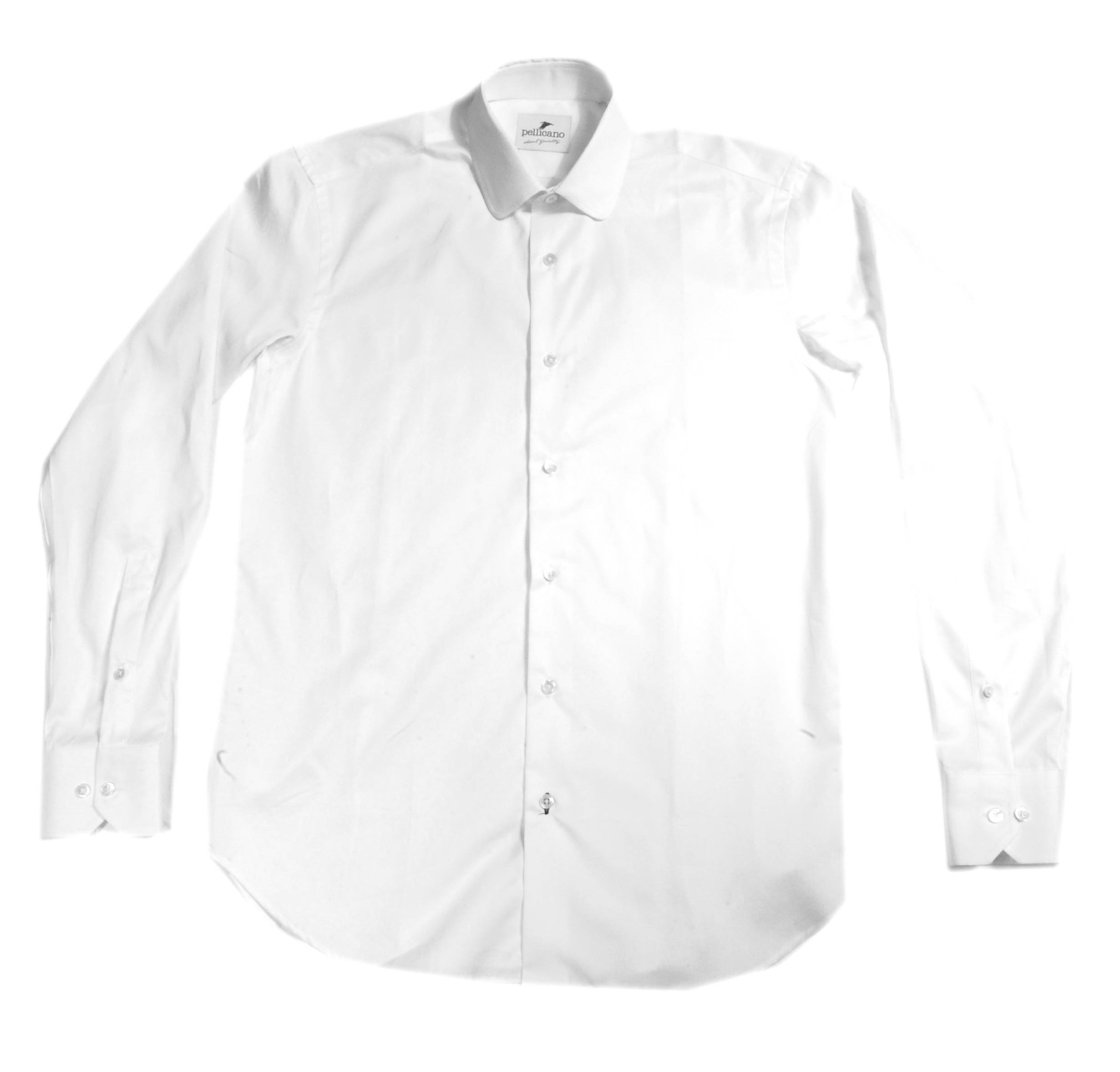 Roberto penny collar shirt in crisp white cotton in a for Crisp white cotton shirt