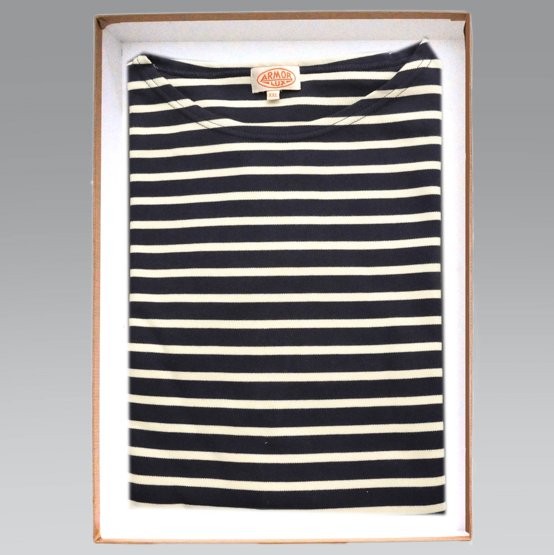 1a32a4ce57 Armor Lux – Fitted Long Sleeve Cotton Breton Striped Shirt in Navy & Ecru