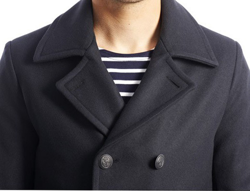 ed7a3d06e5b Armor Lux Pea Coat -Traditional Navy Blue Reefer Jacket - Pellicano ...