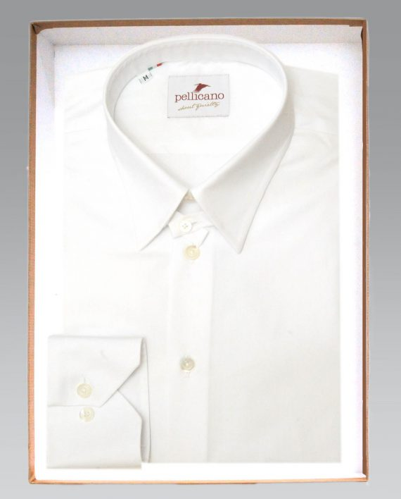 Daniele tab collar shirt in crisp white cotton for Crisp white cotton shirt