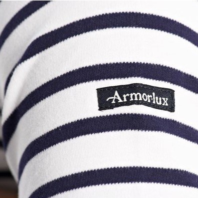 558c9a69 Armor Lux - Short Sleeve Cotton Breton Striped Shirt in White with Navy