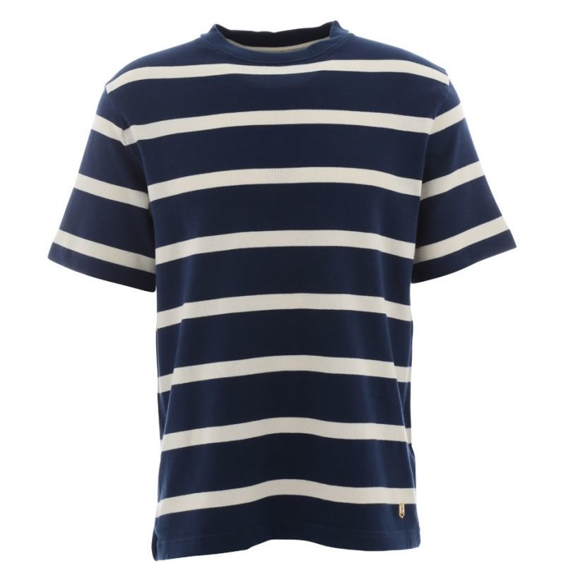 fe399e49f9 Armor Lux – Short Sleeve Cotton Breton Stripe T Shirt in Navy with ...