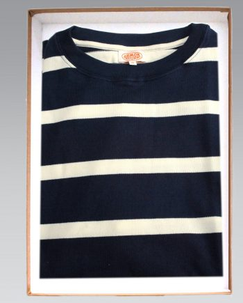 68bb27e6b47 Armor Lux – Short Sleeve Cotton Breton Stripe T Shirt in Navy with White