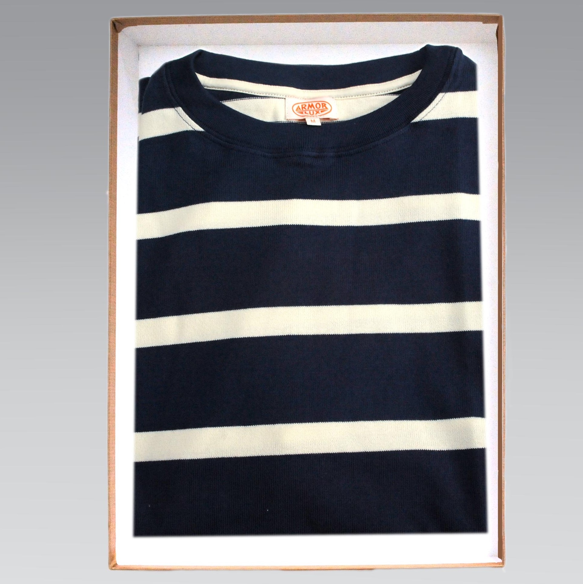 a054990a0a Armor Lux – Short Sleeve Cotton Breton Stripe T Shirt in Navy with White