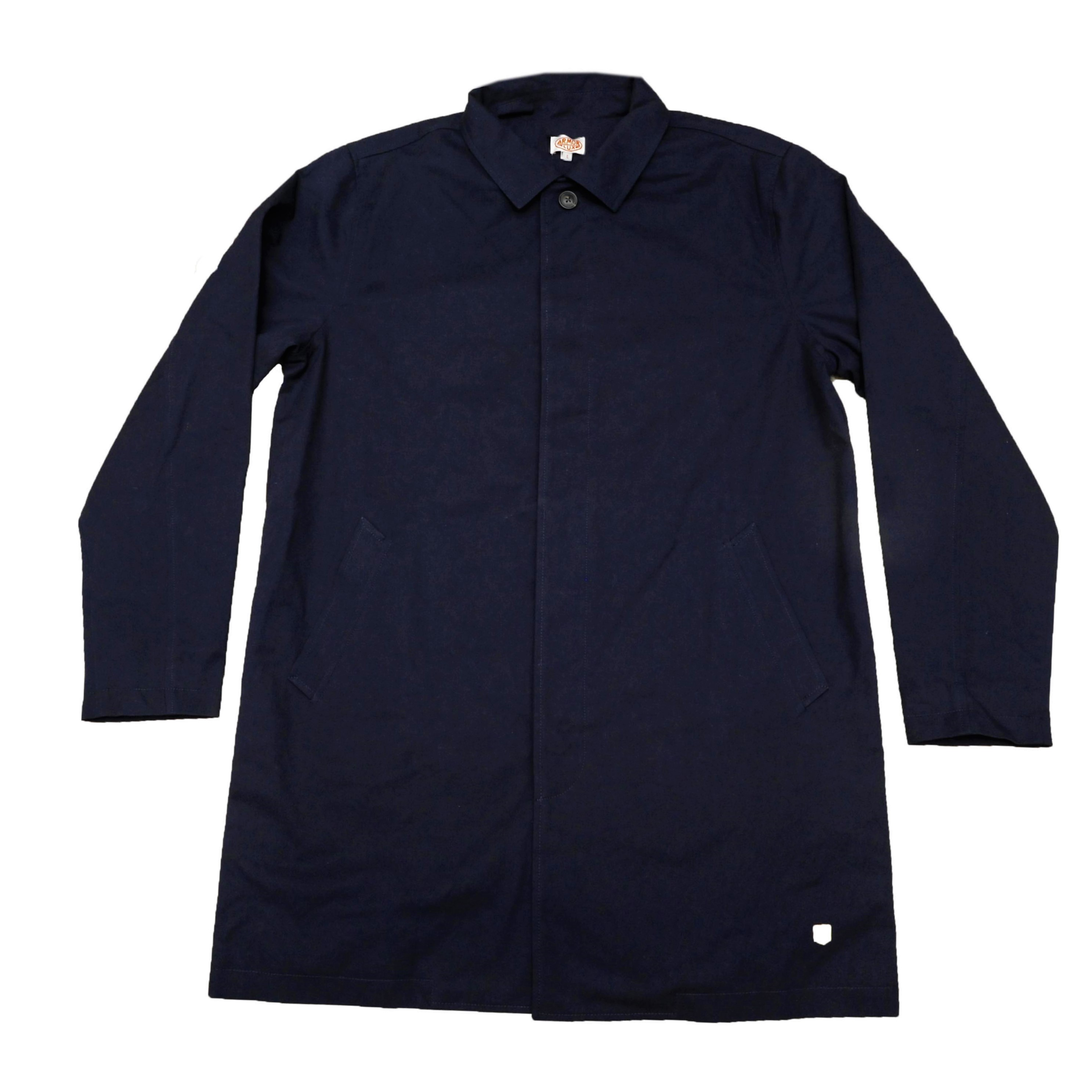 25a4601b619 Armor Lux - Classic Single Breasted Mac in Navy - Pellicano Menswear