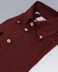 Burgundy popover shirt angle