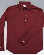 Burgundy popover shirt front