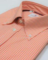 Orange gimgham button down shirt angle