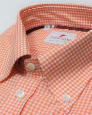 Orange gingham button down shirt collar roll