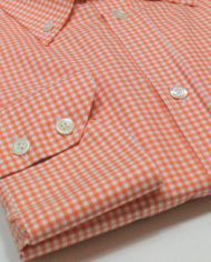 Orange gingham button down shirt cuff